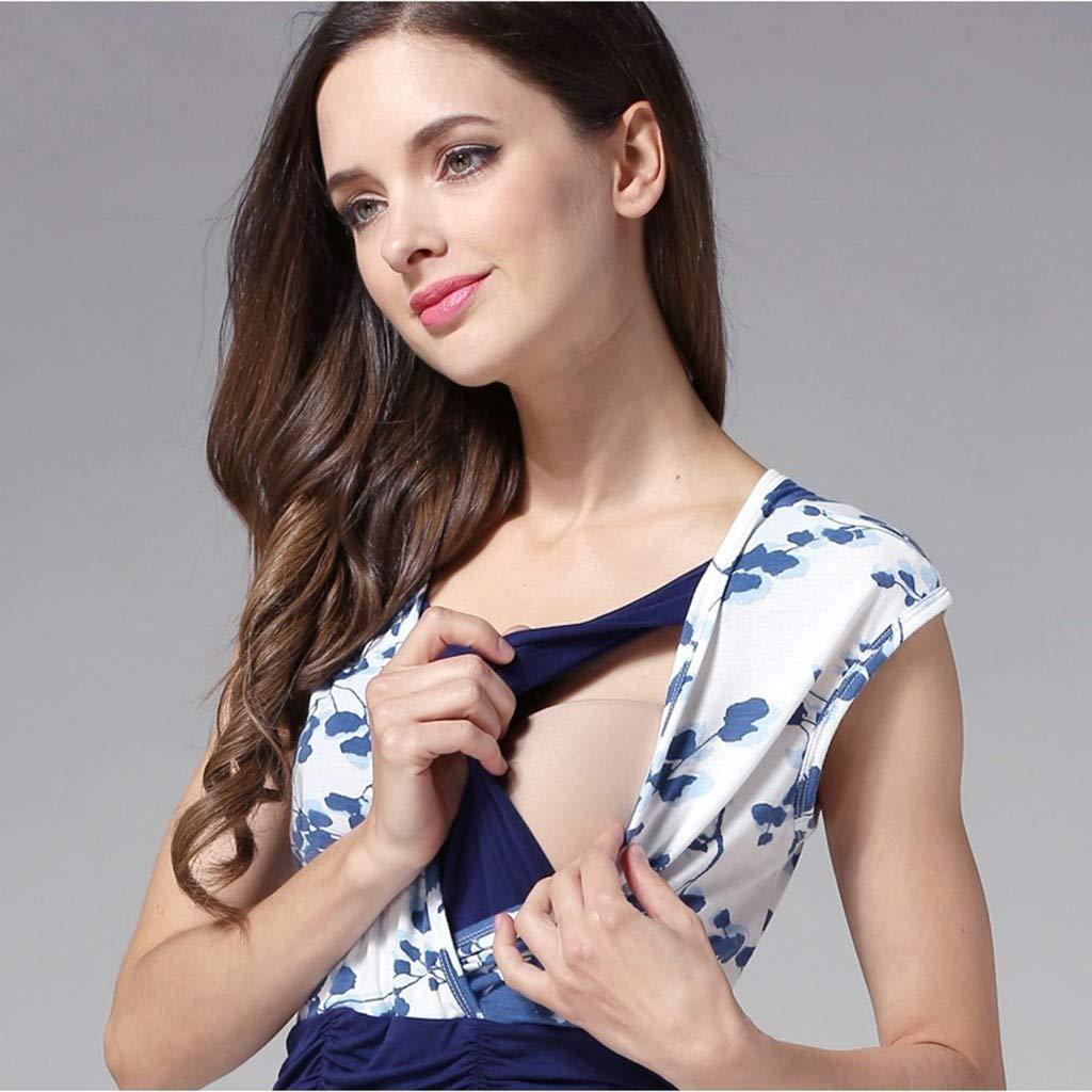 Women Maternity Dress Nursing Breastfeeding Pregnant Sleeveless Strappy Blouse
