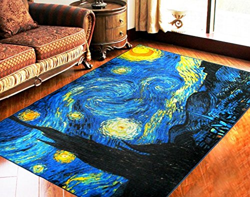 RUIKA Star Night By Vincent Van Gogh Soft Rugs Area Rug Dining Room Home Bedroom Carpet Non-Slip Floor Mat 60 x 39 inches by ruika