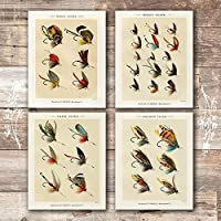 Vintage Fly Fishing Art Prints (Set of 4) -Unframed - 8x10