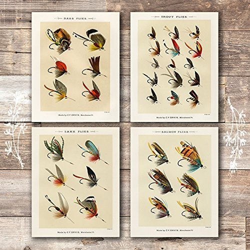 Fly Fishing Art (Vintage Fly Fishing Art Prints (Set of 4) -Unframed - 8x10)