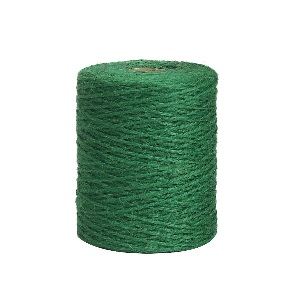 Vivifying 656 Feet Green Garden Twine, Natural 2mm Jute Twine for Floristry, Bundling, Crafts (Dark Green)