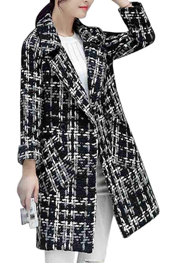 Black XiaoTianXinWomen XTX Womens Overcoat Notch Lapel Longline Trench Coats Slim Fit Plaid Pea Coat