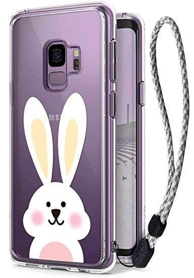 hot sale online 9cf06 75766 Samsung Galaxy S9 Cute Case, Ringke Fusion [Deco Cute Rabbit Decal+Case  with Wrist Strap] Transparent PC Back Cover [Drop Defense] Kawaii Pattern  ...