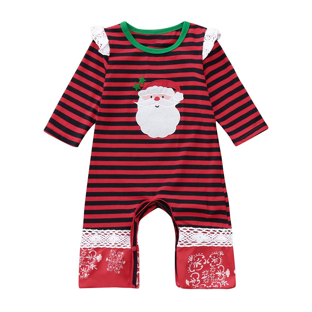 Christmas Baby Romper,Fineser Adorable Infant Toddler Baby Girl Boy Striped Santa Claus Print Lace Romper Jumpsuit Clothes