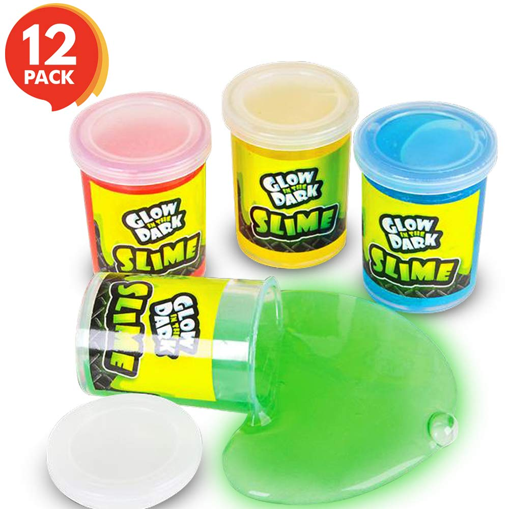 ArtCreativity Glowing Slime - 12 Pack - Fun Glow in The Dark Sludge - 4 Neon Colors, Non-Toxic Putty - Glow Birthday Party Favors, Supplies, Goody Bag Filler, Novelty Gift by ArtCreativity