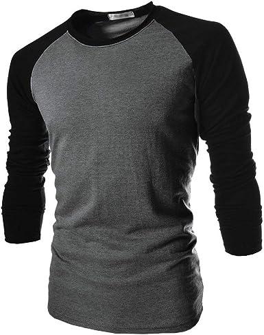 Reooly Camisa de Hombre de Moda de Manga Larga con Estampado de Jersey Estampado Casual Cuello Redondo Irregular Top