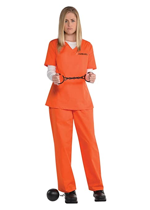 29453100 Image Unavailable. Image not available for. Color: Orange Prisoner Costume  for Women ...