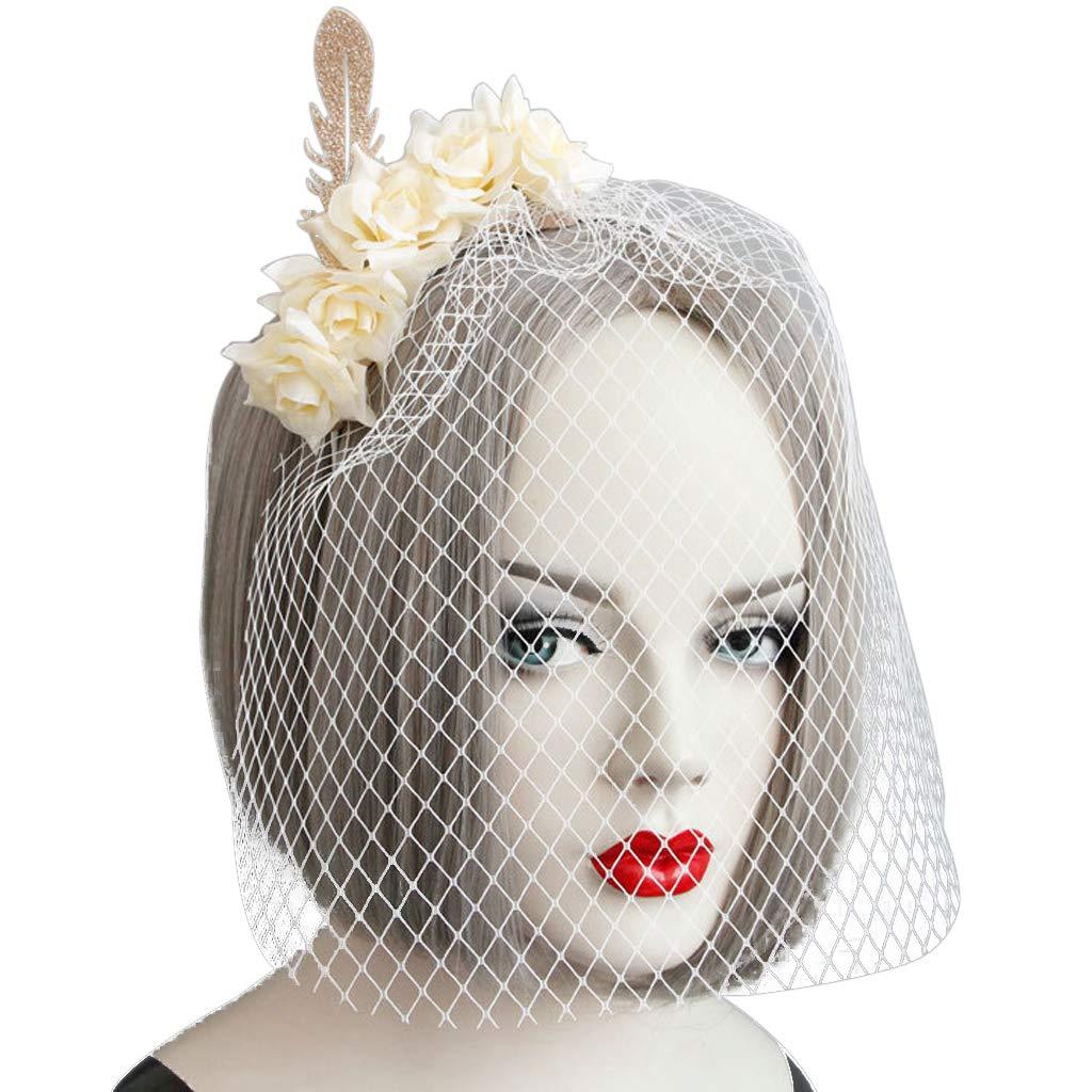 Manyo Frauen White Lace Schleier Cover Gesicht Kopfschmuck Blume ...
