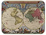 Trays4Us World Map 1665 Vintage Map Birch Wood Veneer 16x12 inches (Large) TV/Serving Map Tray - 100+ Different Designs