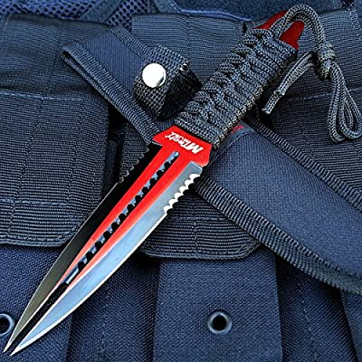 """8.5"""" MTech Red Double Edge Stainless Steel Tactical Fixed Dual Blade Dagger   Includes FREE LED KeyChain Gift"""