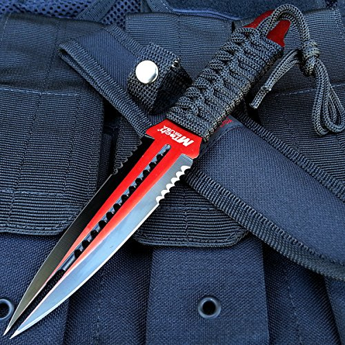"8.5"" MTech Red Double Edge Stainless Steel Tactical Fixed Dual Blade Dagger 