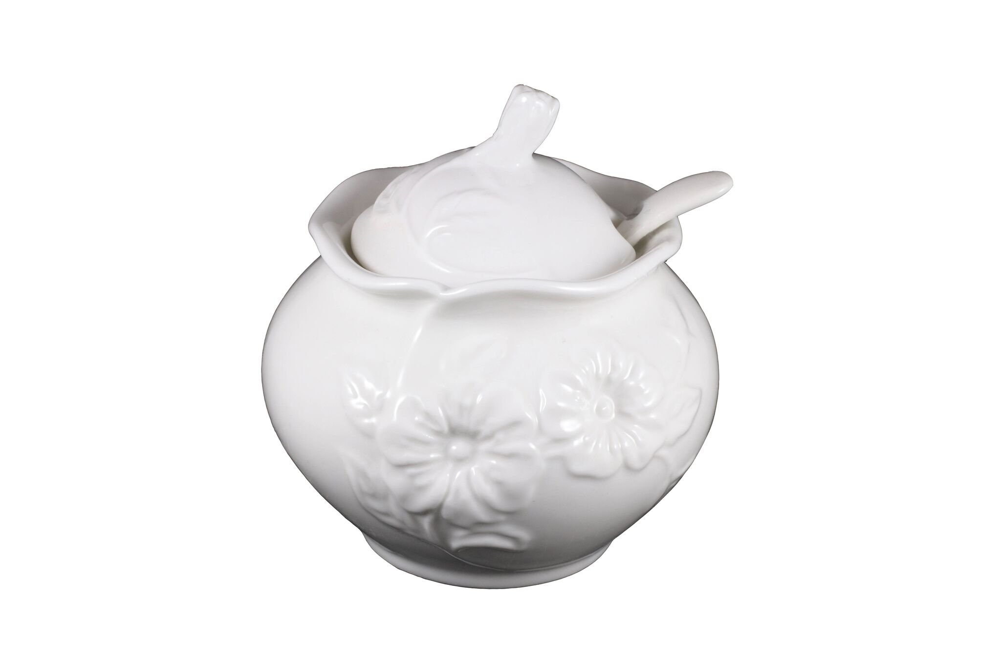 Porcelain Sugar Bowl with Lid and Spoon