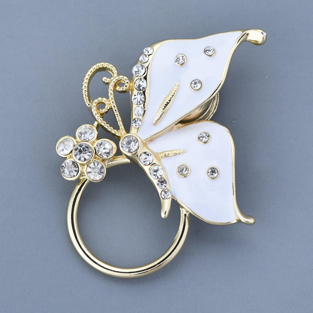 GUANDU Enamel Butterfly Crystal Magnetic Eyeglass Holder for Women Teen Girls (Gold) by GUANDU (Image #2)