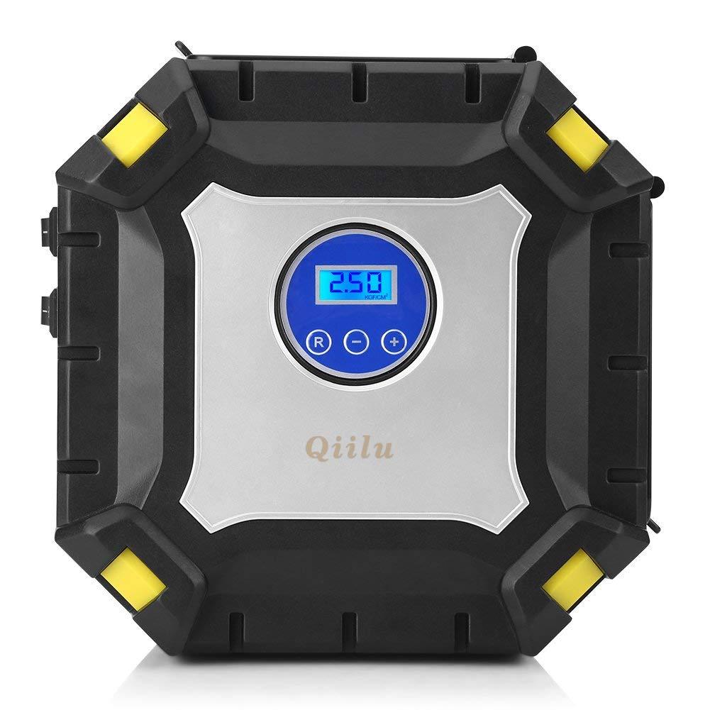 Qiilu Compresor de Aire Portátil Coche, Inflador de Neumáticos 12V 100 PSI con Pantalla Digital, Luz LED y 3 Adaptadores de boquillas para Vehículos, ...