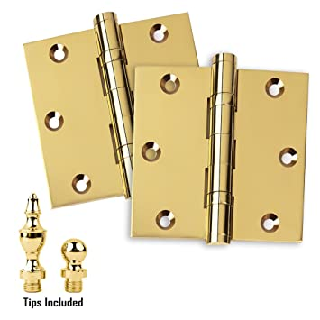 Door Hinges 3.5u0026quot; X 3.5u0026quot; Extruded Solid Brass Ball Bearing Brass  Hinge Heavy Duty