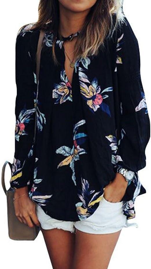 Women Blouse V-Neck Long Tops S-2XL Sleeve Floral Lantern T Shirt Oversize Boho