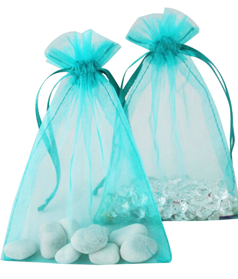100pcs Turquoise Organza Drawstring Pouches Jewelry Party Wedding Favor Gift Bags 3''X4''