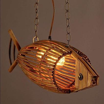 Wapipey 2 Luces Luces de araña de bambú del país Americano ...