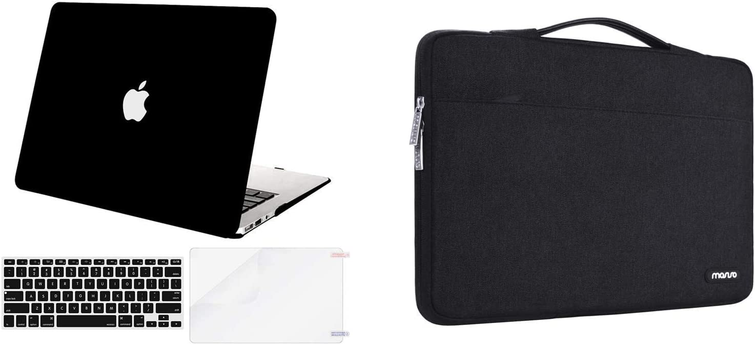 MOSISO Plastic Hard Shell Case & 360 Protective Sleeve Bag Compatible with MacBook Air 13 inch (Models: A1369 & A1466, Older Version 2010-2017 Release), Black
