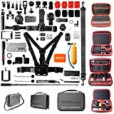 Ultimate 50in1 Combo for GoPro Accessories Kit Pack GoPro Mounts Bundle Set Starter Suit w/Hi Capacity Dual-Layer Waterproof Anti-impact Hand Bag for GoPro Hero 6 5 4 3+ 3 Session Sony Yi AKASO -13''