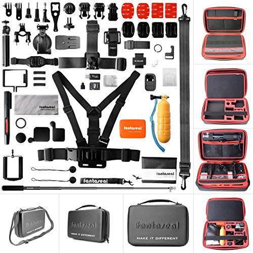 Ultimate 50in1 Combo for GoPro Accessories Kit Pack GoPro Mounts Bundle Set Starter Suit w/Hi Capacity Dual-Layer Waterproof Anti-impact Hand Bag for GoPro Hero 6 5 4 3+ 3 Session Sony Yi AKASO -13'' by fantaseal