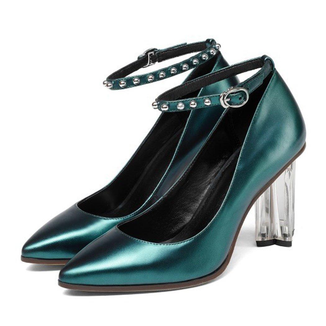 GAOLIXIA Señoras de Las Mujeres de Cuero Acentuado Correa del Tobillo Tacones Altos Primavera Verano Cristales Tacones Altos Sandalias Zapatos de Corte Bombas de Trabajo Banquete Vestido 36|Verde