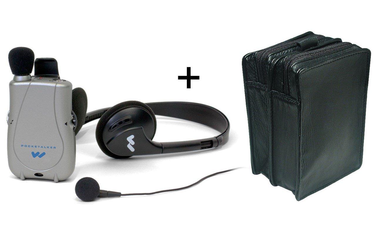 Pocketalker Ultra w-Earbud+Headphones + Leather Case - MaxiAids Bundle