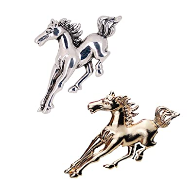Golden Running Horse Brooch Pins Animal Jewelry Costume Gift