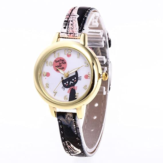 Girls cute watches with catti pattern soft leather watch band fashion style,GINELO (E