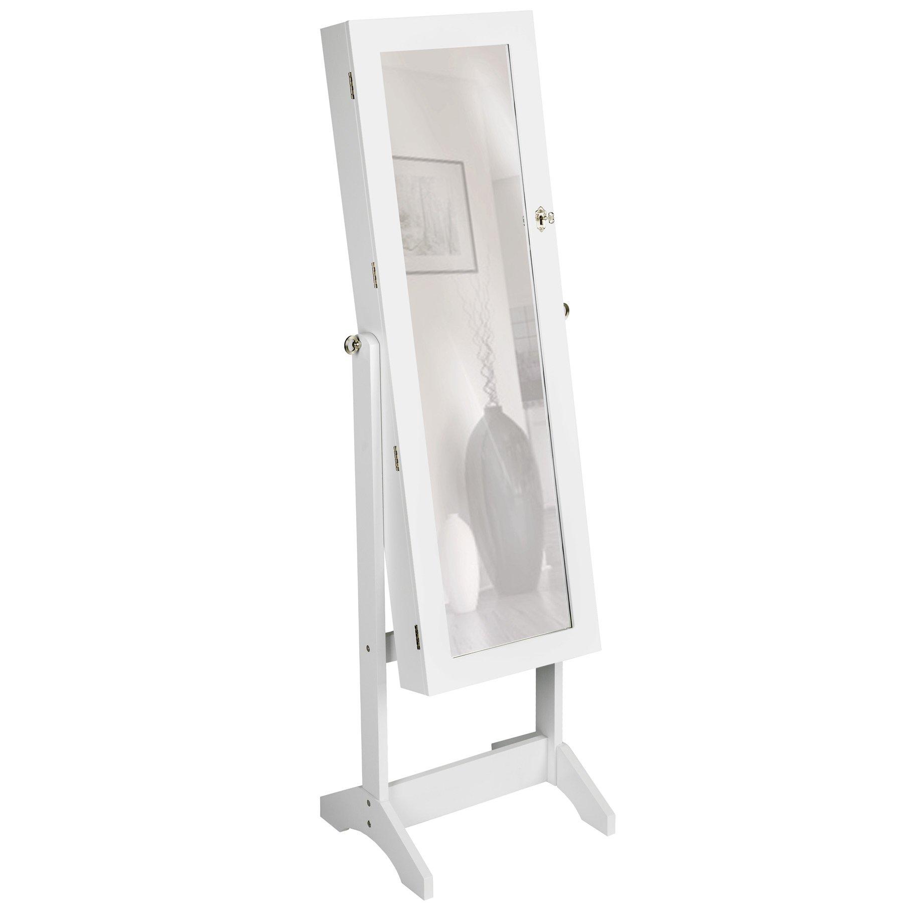 TecTake Espejo joyero espejo guarda joyas organizador espejo de pie pendientes (Blanco) product image