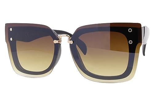 Cheapass Gafas de sol Marrones Negras Ojos de Gato Diseño XXL Gafas Plásticas Mujeres Chicas Damas