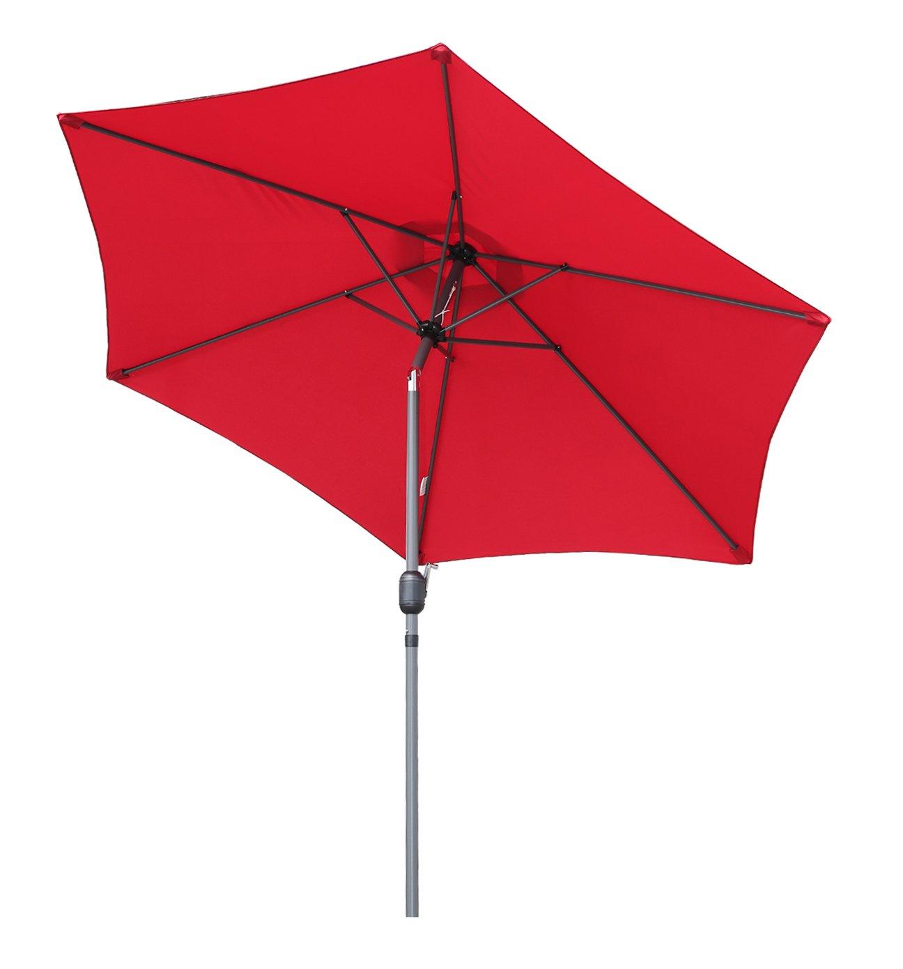 Angel Living Garden Parasol Umbrella 270cm Aluminum with Crank Tilt Mechanism Sun Shade for Garden Patio Furniture (Green)