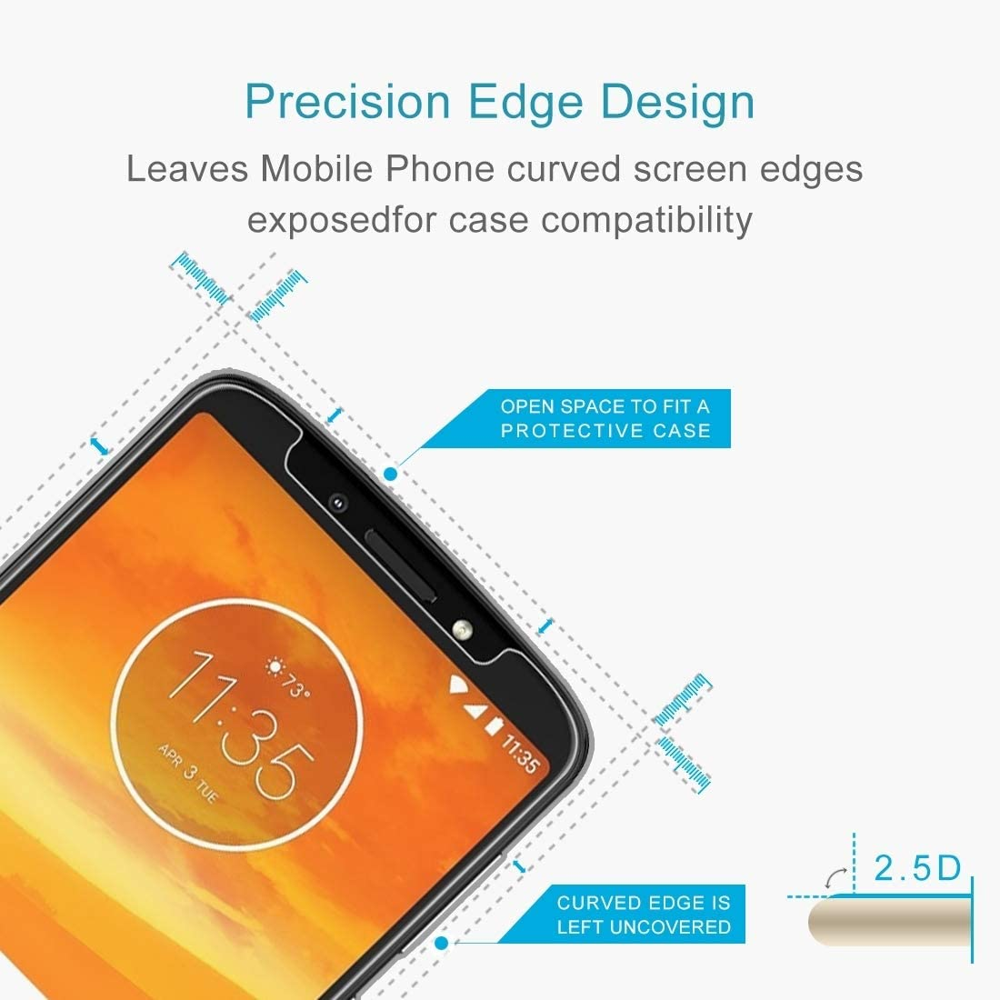 XHC Screen Protector Film 100 PCS 0.26mm 9H 2.5D Tempered Glass Film for Motorola Moto E5 Plus Tempered Glass Film