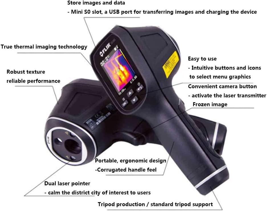 ZUKN Handheld HD Infrared Thermal Imager 80X60 IR Thermal Imaging High Resolution 2.0 Inch TFT Screen Floor Heating Detector Temperature Imager Camera 2 Pieces