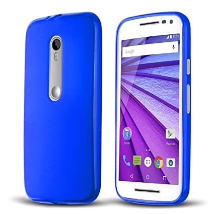 Donkeyphone S1AMG3G1700 - Carcasa de Silicona para Motorola Moto g3 Gel TPU Lisa, Color Azul