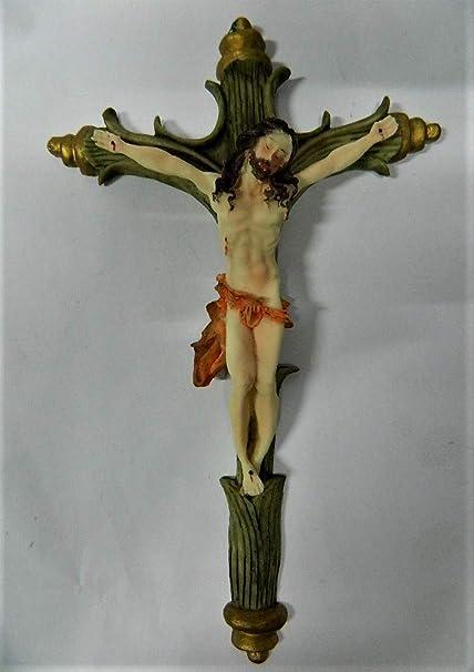 Sans Great Wall Cross Crucifix Jesus Christ Christianity Polyresin 36 Cm Amazon Co Uk Kitchen Home