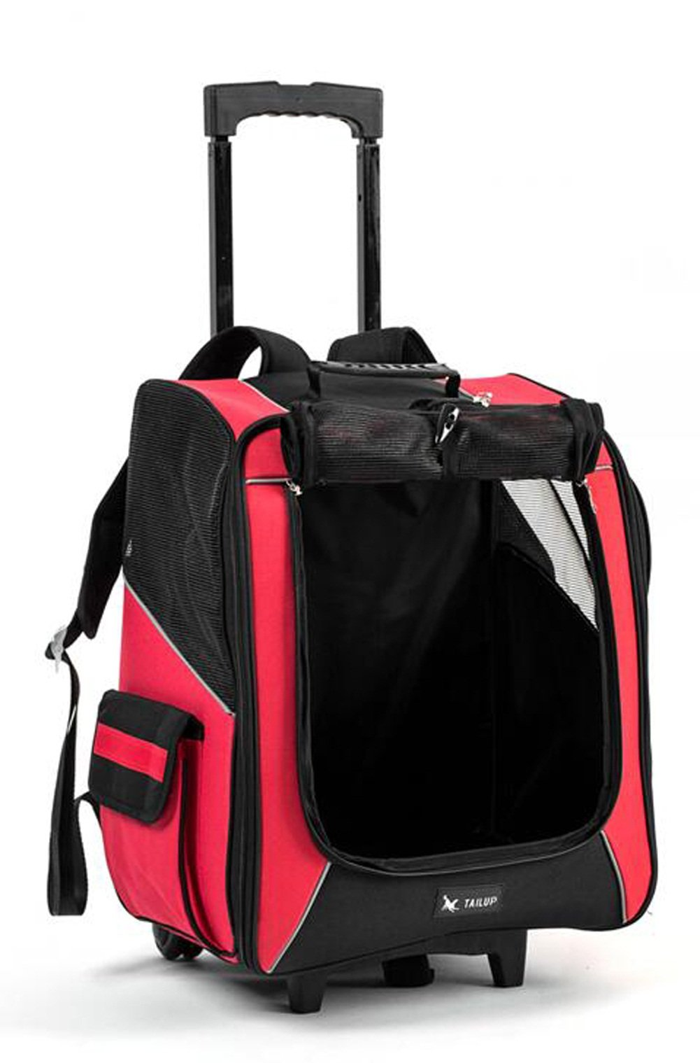 Kuoser 4-in-1 Oxford Pet Carrier Rolling Backpack Puppy Trolley Rolling Backpack Airline Approved Travel Wheels Luggage Bag Car Seat Carrier for Cats/Dogs small animal Red