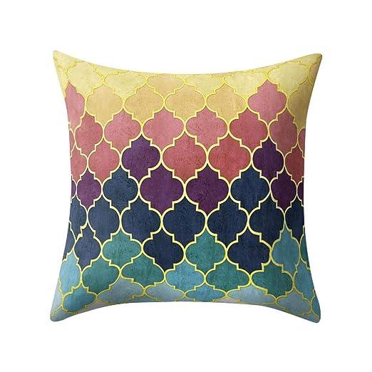 VJGOAL Hexagonal de Nido de Abeja de impresión Suave Cojín Cómodo Funda de Almohada Cuadrada Decoración del Hogar(45_x_45_cm,Negro13)