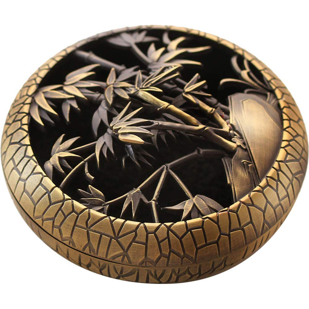 Lizipai Round Incense Holder Alloy Hollow Plate Incense Burner Home Tea Ceremony Antique Sandalwood Furnace Bronze Bamboo Pattern