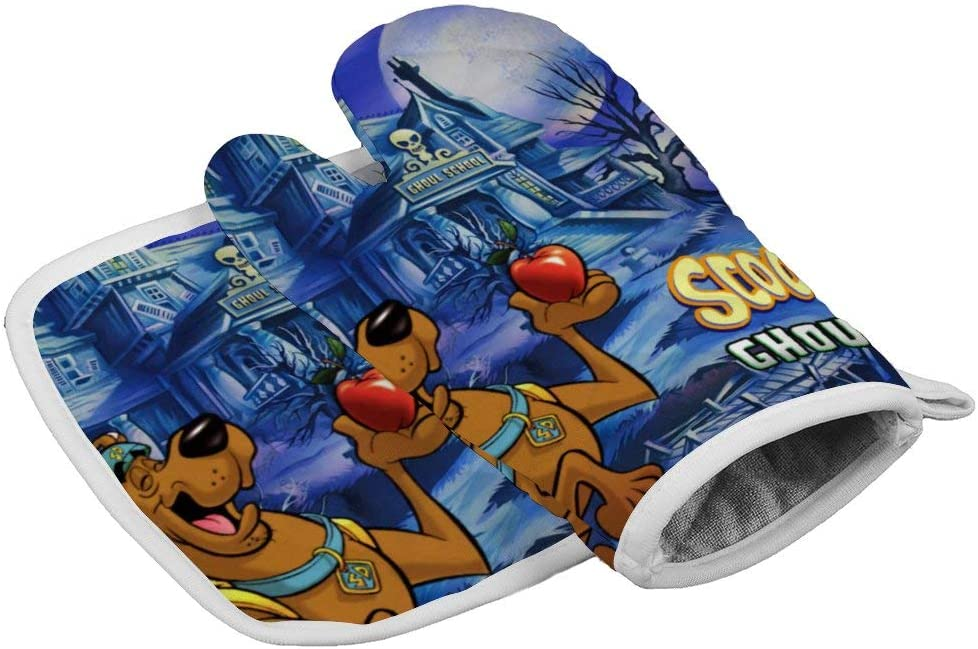 SIENNAWEBB Scooby doo Oven Mitts and Pot Holders Sets Heat Resistant Kitchen Non Slip Gloves