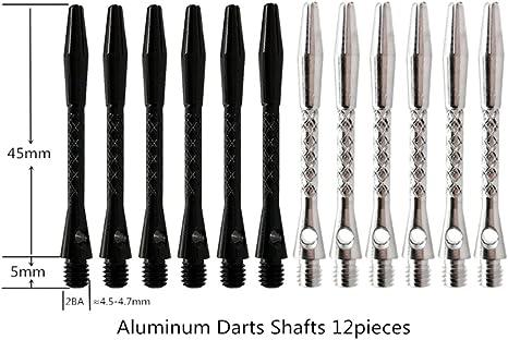 JIACUO 12pcs Aleaci/ón de Aluminio 5cm Tornillo Eje de dardo Plata Negro Dardos Reemplazo de Tallos