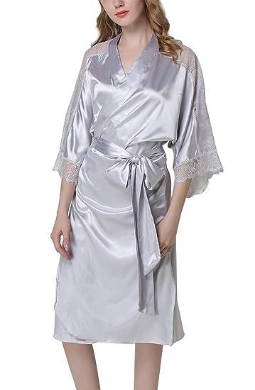 9f27c65631 Aivtalk Femme Robes de Chambre Kimono Satin Élégante Peignoirs de Bain  Longueur Moyenne Chemise de Nuit