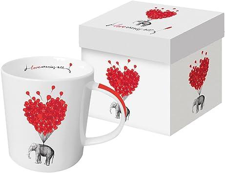 Juego de Taza Grande Cafe Desayuno con Caja Regalo Love Carries All 0,35l.: Amazon.es: Hogar