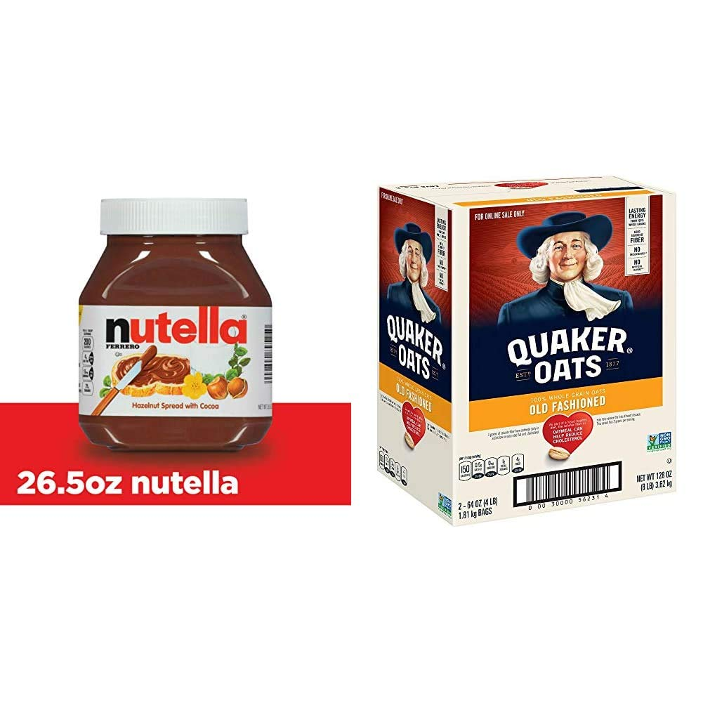 Quaker Oats Old Fashioned Oatmeal, Breakfast Cereal, 128 Ounces with Nutella Chocolate Hazelnut Spread, 26.5 Ounce (Pack of 1) &
