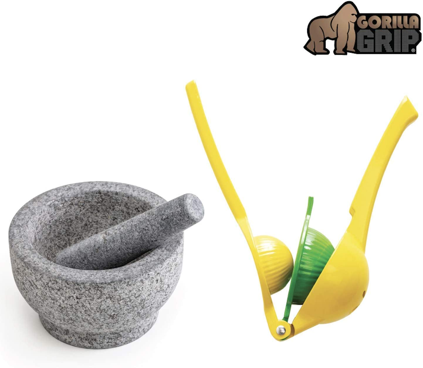 Gorilla Grip Mortar and Pestle Set and Citrus Squeezer, Granite Mortar and Pestle Holds 1.5 Cups, Manual Hand Juicer Good for Limes, Lemons, and Fruit, 2 Item Bundle
