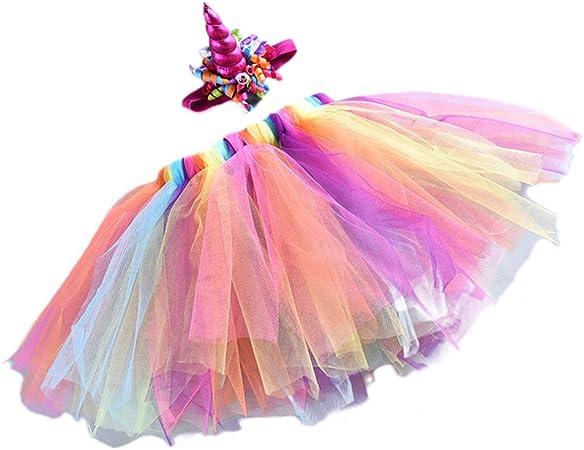 SHINYOU Gonna Tutu arcobaleno da ragazza a strati di tulle