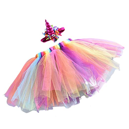 AMOSFUN - Falda de tutú de tutú con Cuerno de Unicornio y tutú de ...