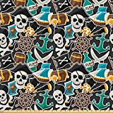 Ambesonne Pirates Fabric by The Yard, Colorful