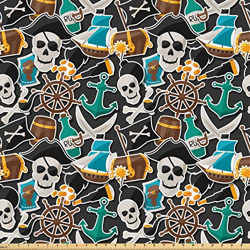 (Ambesonne Pirates Fabric by The Yard, Colorful Pattern with Corsair Symbol of Jolly Roger Bottle Anchor Treasure and Map, Microfiber Fabric for Arts and Crafts Textiles & Decor, 1 Yard, Multicolor)