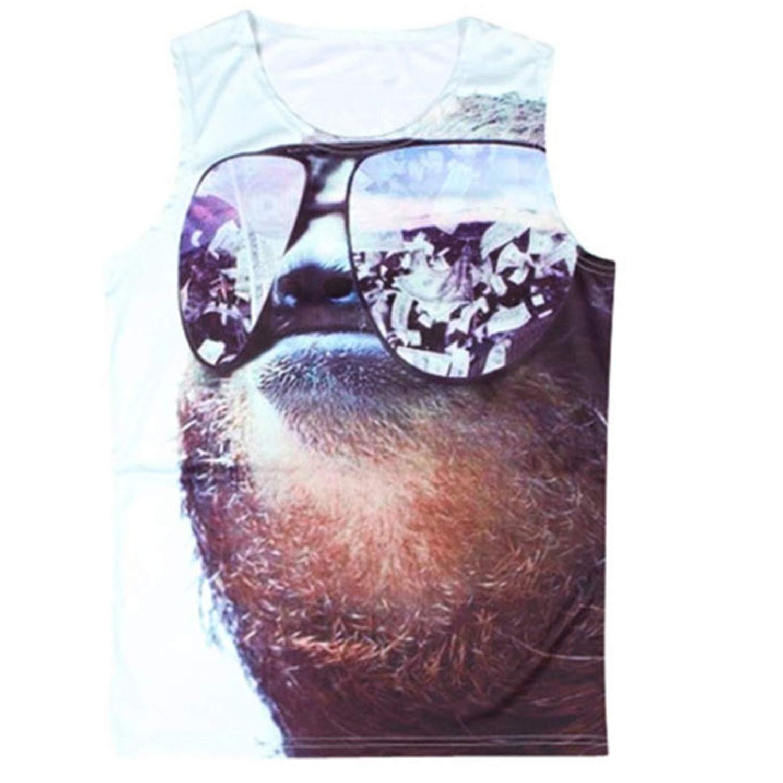 3D Tank Tops Men Conventional Sleeveless Vest Cute Sunglass Cat 3D Print Bodybuilding Active Funny